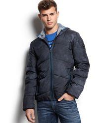 Guess Printed Hooded Puffy Jacket - Lyst