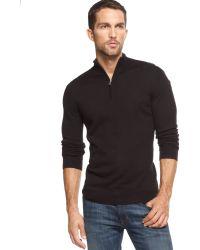 Inc International Concepts Merino Wool-blend Soy Latte Quarter-zip Sweater - Lyst