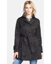 Betsey Johnson Piped Double Breasted Trench Coat - Lyst