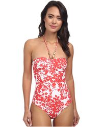 Shoshanna White Cinched One-piece - Lyst