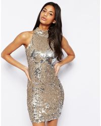 TFNC Sequin Dress With High Neck - Lyst