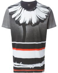 Diesel Flower And Stripe Print T-Shirt gray - Lyst