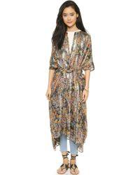 Mes Demoiselles Lumiere Long Wrap Robe - Sunset Print - Lyst