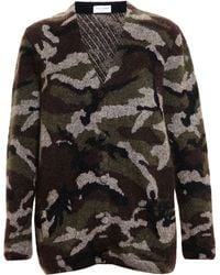 Saint Laurent Camouflage Cardigan - Lyst