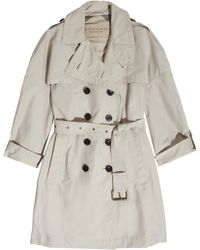 Burberry Brit - Cottonblend Trench Coat - Lyst