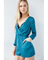 ALICE & UO - Demy Long-sleeve Satin Romper - Lyst