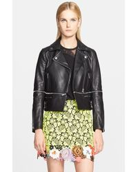 Christopher Kane Zip-Off Leather Moto Jacket - Lyst