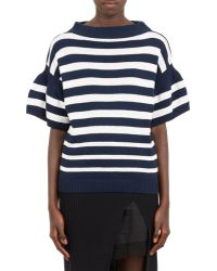Sacai Luck - Bell-sleeve Stripe Sweater - Lyst