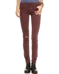 Mother The Looker Destroyed Skinny Jeans  Blow Out Cabernet - Lyst