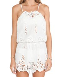 Miguelina White Cicely Romper - Lyst