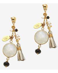 Gas Bijoux Fringe Quartz Drop Earrings gold - Lyst