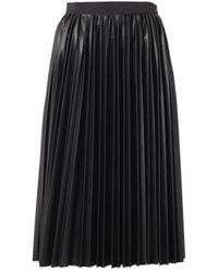 Lanvin Pleated Fauxleather Midi Skirt - Lyst
