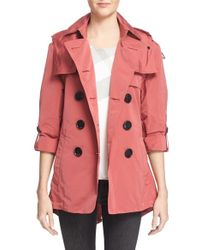Burberry Brit | Burberry Knightsdale Belted Drop Tail Hooded Trench Coat | Lyst