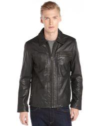 Cole Haan Black Vintage Leather Zip Front Jacket - Lyst