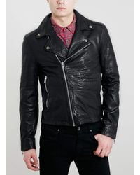 Lac Bk Leather Biker Jacket - Lyst