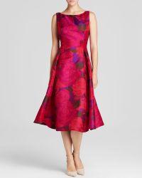 Adrianna Papell Petites Dress - Sleeveless Floral Tea-Length - Lyst