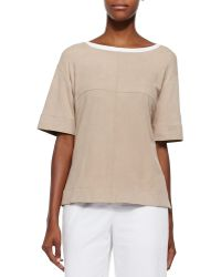 Lafayette 148 New York Short-Sleeve Perforated Suede Top - Lyst