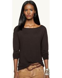 Ralph Lauren Black Label Merino Wool Boat Neck Top - Lyst
