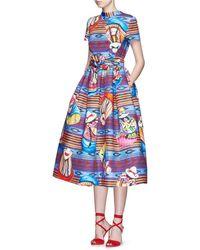 Stella Jean | 'parocco' Knotted Belt Midi Cotton Flare Dress | Lyst