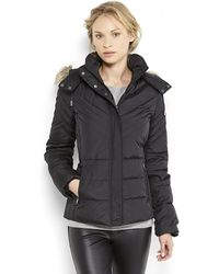 Kenneth Cole Reaction - Faux Fur Trim Hooded Puffer Coat - Lyst