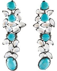 Caviar Dreams Moonstone Turqoise Long Cluster Earring - Lyst