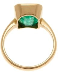 Kojis - Gold Emerald Single Stone Ring - Lyst