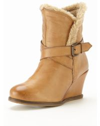 Lotus Cove Leather Wedge Ankle Boots - Lyst