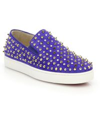 Christian Louboutin Roller Flat Studded Suede Slip-On Sneakers - Lyst