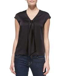 Michael Kors Sleeveless Tie-Front Charmeuse Top - Lyst