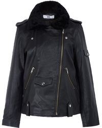 Hide - Black Luci Shearling Collar Long Leather Jacket - Lyst