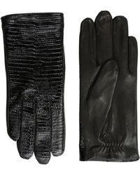 The Kooples - Lizard Embossed Patent Leather Gloves - Lyst
