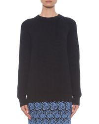 Esk - Georgie Contrast-panel Ribbed-knit Sweater - Lyst