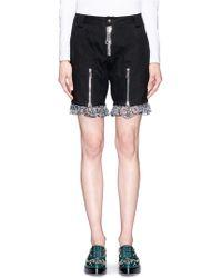 Nicopanda Panda Embroidery Lace Hem Twill Shorts black - Lyst