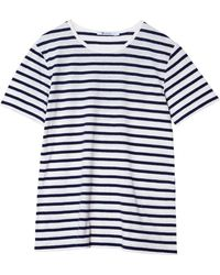 T By Alexander Wang Striped Linen Cotton Tee - Lyst