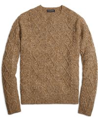 Brooks Brothers Cable Knit Crewneck Sweater - Lyst