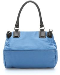 Givenchy Blue and Grey Leather Medium Pandora Convertible Top Handle Bag - Lyst