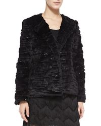 Milly Short Faux-fur Metallic Jacket - Lyst