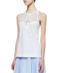 Nanette Lepore Terrace Crochet Inset Sleeveless Top - Lyst