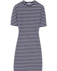 T By Alexander Wang Striped Stretchcotton Jersey Dress - Lyst