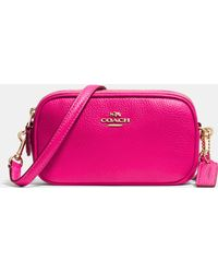 Coach Crossbody Pouch In Polished Pebble Leather - Lyst