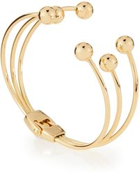 Lydell NYC - Golden Triple-row Hinged Ball Cuff Bracelet - Lyst