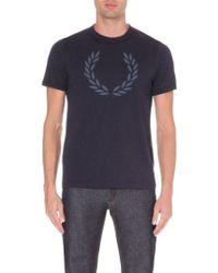 Fred Perry Laurel-appliqué Cotton-jersey T-shirt - Lyst