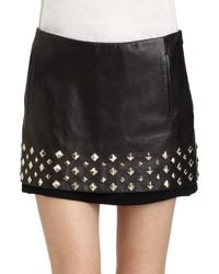 Diane Von Furstenberg Elley Studded Leather Mini Skirt - Lyst