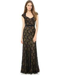 Diane Von Furstenberg Sleeveless Lace Gown Black - Lyst
