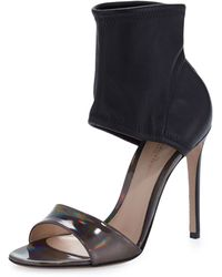 Gianvito Rossi Glove-ankle Sandal with Iridescent Leather - Lyst