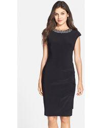 Xscape Embellished Jersey Sheath Dress - Lyst