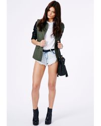 Missguided Errin Frayed Denim Hotpants In Bleached Wash - Lyst