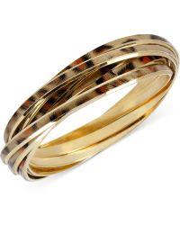 Betsey Johnson Gold-tone Leopard Bangle Bracelet Set - Lyst