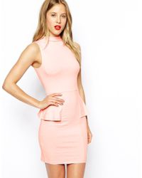 Asos Sleeveless Dress with High Neck and Peplum - Lyst