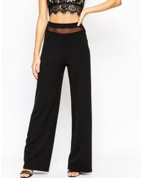 ASOS | High Waisted Wide Leg Trousers With Mesh Insert | Lyst